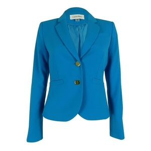 Calvin Klein Turquoise Button Up Blazer
